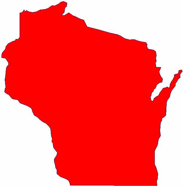 Red Outline State of Wisconsin